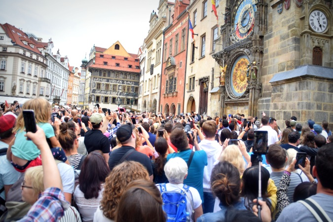 Waiting for Astronomical Clock to strike - Old Town Square Prague
