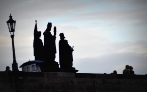 Everyone is crossing the (ancient) Charles Bridge