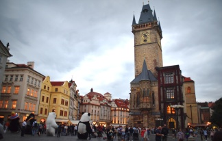 Old Town Square at dusk