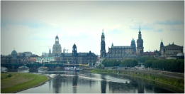 looking back at Dresden from the train