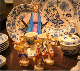 in the middle of the Meissen porcelain