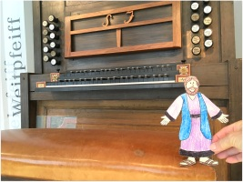 Standing on Bach's organ bench in Leipzig