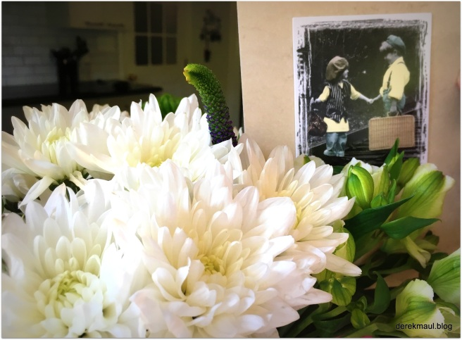 On our 40th - flowers and a card