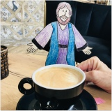 Flat Jesus loved the cappuccino