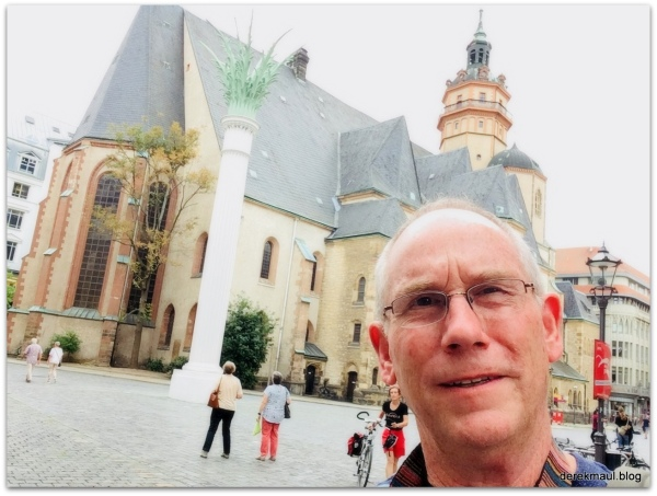 standing in front of St. Nicholas church in Leipzig the day he was born