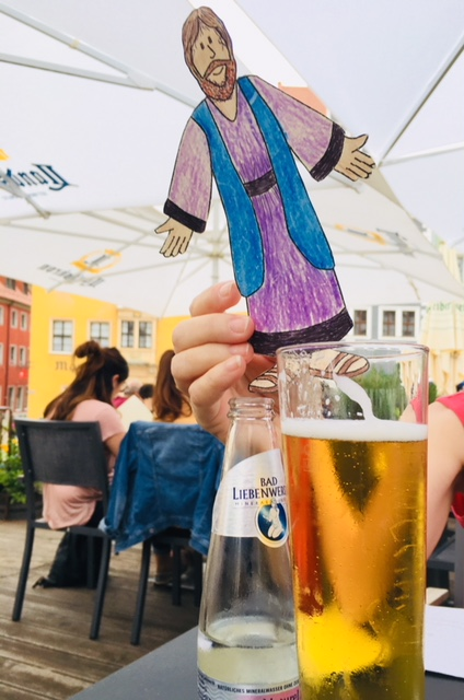 flat Jesus turning water into beer (it's Germany)