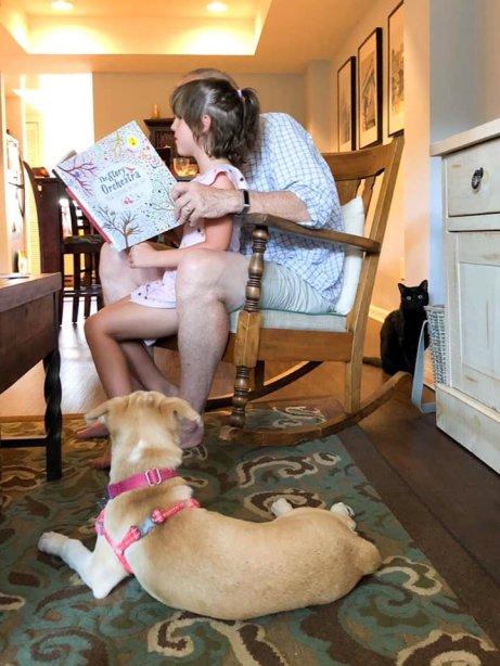reading to Beks - pets watching