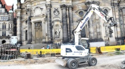 construction outside the catholic cathedral in Dresden