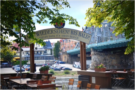 beer garden on Elbe