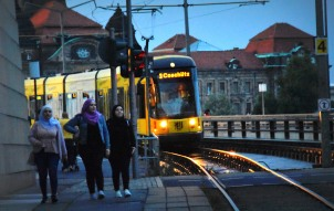 evening tram in Dresden