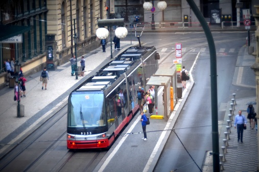 tram outside our hotel in Prague
