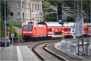 catching local train in Meissen