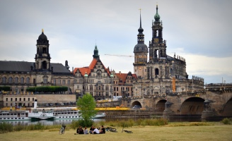 Dresden from across the Elbe - Catholic cathedral and Augustus Bridge