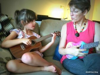 Rebekah Playing uke with Beks