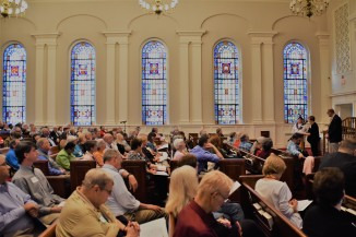 stained glass and engaged Presbyterians