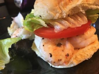 Lunch - simple shrimp po'-boy in a potato-roll slider