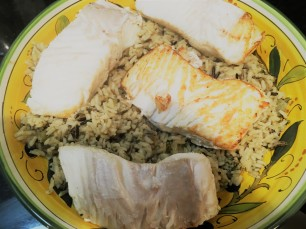 Halibut on wild rice!