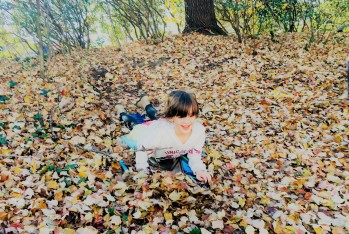 Beks sledding the leaves