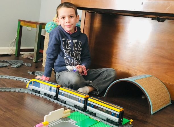 David with his Lego train
