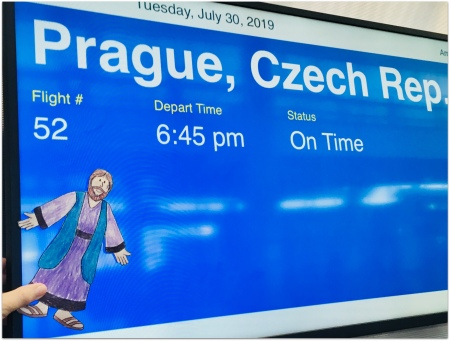 "heading to Prague, then Germany, with ""Flat Jesus"""