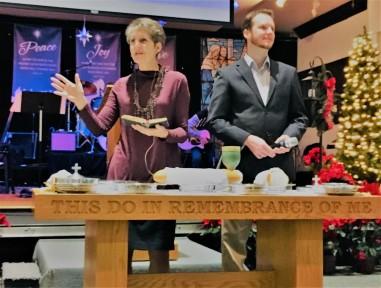 Serving communion with John