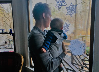 Andrew with his son, December 2019