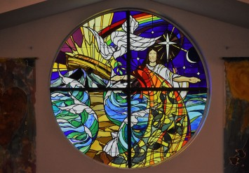 stained glass in sanctuary (left)