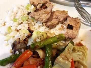pork tenderloin with jasmine rice, artichoke, asparagus, carrots, mushrooms and caramelized onion