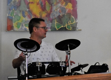 Brett on the drums