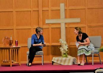 Rebekah with Katherine in worship