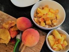 Breakfast in July - peaches!